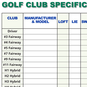 Golf Club Specification Fill-In Chart