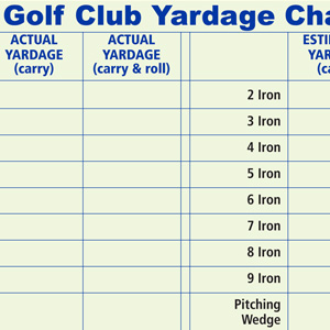 Golf Club Yardage Chart