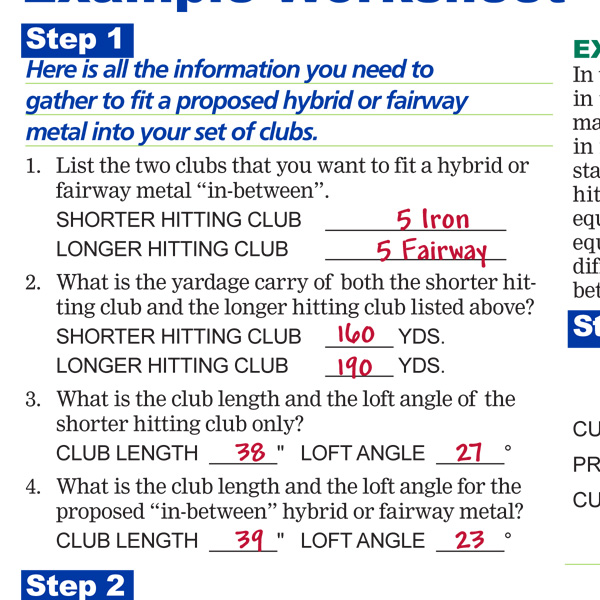 How To Fit A Hybrid or Fairway Metal Example Worksheet Preview