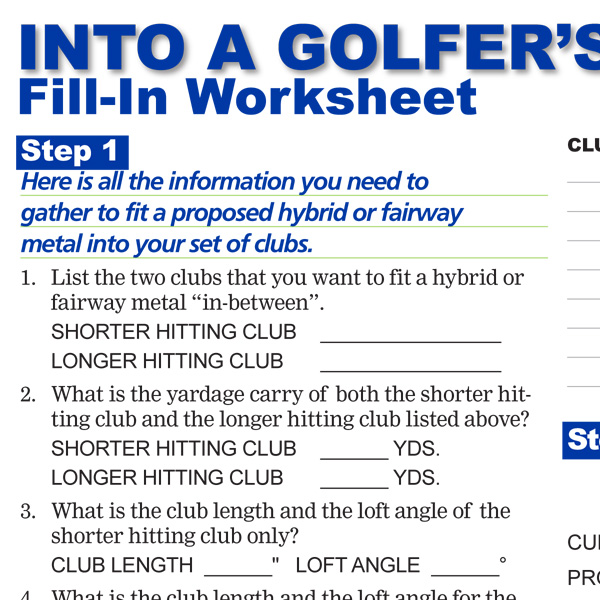 Into A Golfers Set of Clubs Fill-In Worksheet Preview