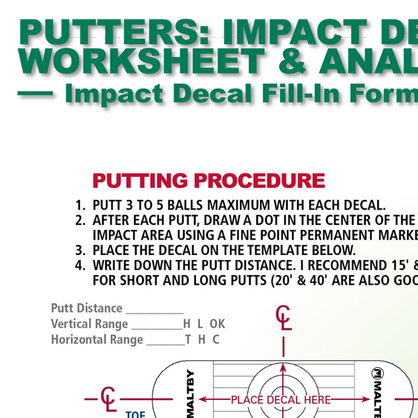 Putters Impact Decal Worksheet