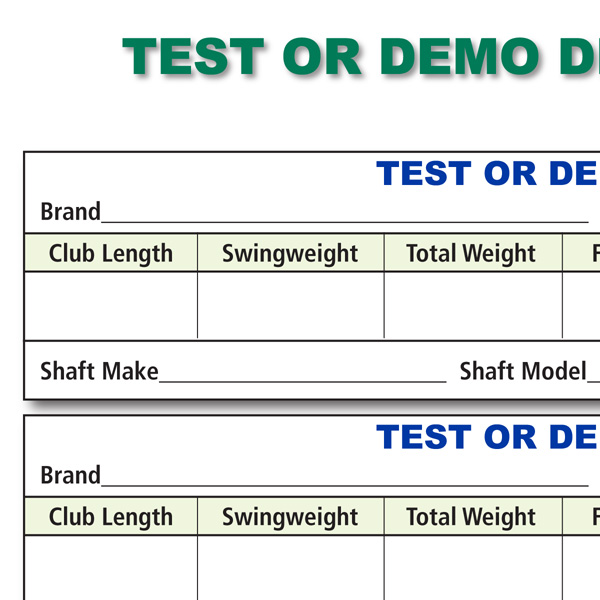 Test or Demo Driver Data Recording Chart
